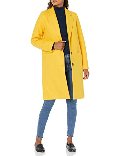 Amazon Essentials Plush Button-Front Coat Kleidermantel, Gelb, S
