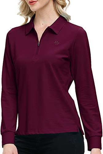 Women's Golf Polo Shirts Long Sleeve Ladies Sports Tennis Shirts Performance Golf Tops Fitness Workout with Zipper Burgundy Red