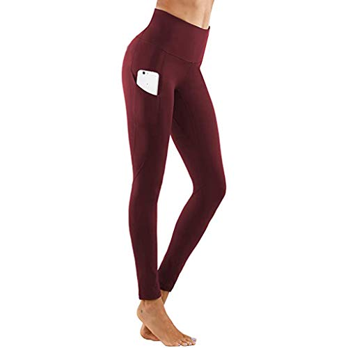 Review Womens Workout Pants - Solid Color High Waisted Yoga Pants with Pockets Women's Tight Elastic...