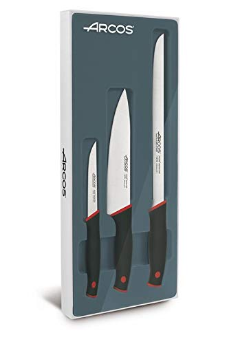 Arcos 859100 Juego de Cuchillos de Cocina, Metal, Negro Y Rojo, Estandar