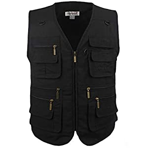 Men's Stone Washed Denim Multi-pocketed Fishing Work Outerwear Vest