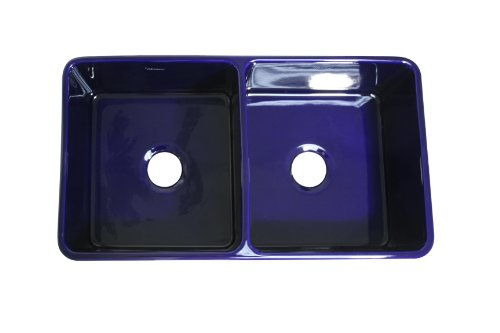 Great Features Of Whitehaus WH3719-BLUE Farmhaus Duet Series 36 3/4in Sapphire Blue Double Bowl Reve...