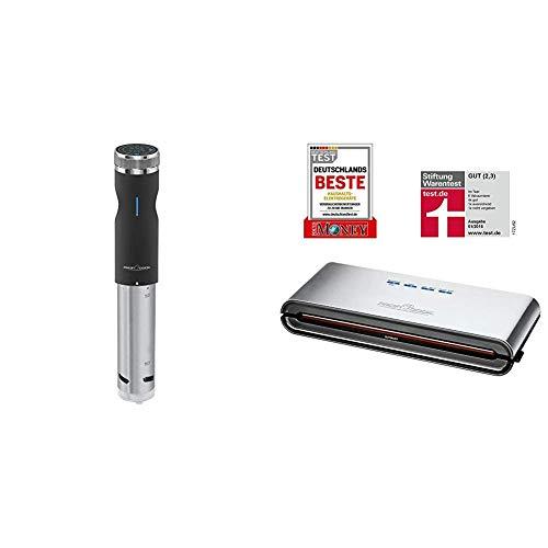 Profi Cook PC-SV 1126 Sous Vide Stick, Edelstahl, LED-Multifunktionsdisplay, Timer-Funktion, 800 W & PC-VK 1080 Edelstahl-Vakuumiergerät, Lebensmittel bleiben vakuumiert bis zu 8x länger frisch
