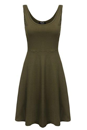 Zeagoo Damen Strandkleid Sommerkleid Tank Kleid Ausgestelltes Trägerkleid Knielang (EU 40/ L, Olivgruen)