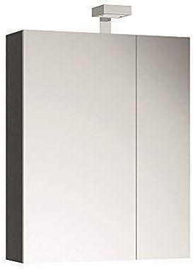 Allibert Armoire de Toilette Miroir Meuble de Salle de Bain Pré-assemblé Chêne Gris Réplique 60 cm Éclairage LED
