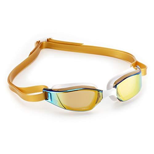 Phelps XCEED, Occhialini da Nuoto Unisex-Adulto, Lente a Specchio in Titanio Oro e Bianco/Oro, Taglia Unica