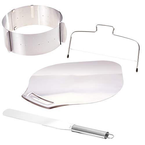 Backset – Tortenring Tortenschneider Konditorenmesser Tortenheber – Für die Zubereitung kleiner und großer, perfekter Kuchen und Torten - Edelstahl 4teilig