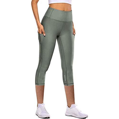 Mdsfe Leggings Sport Dames Fitness Nauwe Elastische sneldrogende yogabroek reflecterende kort gesneden yogabroek tas fitness legging broek Small groen A855