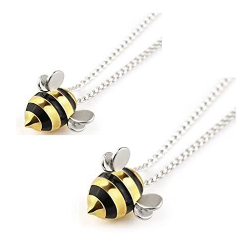 2 pièces projet abeilles à miel - adopter un collier d'abeille-abeille clous d'oreille , S925 collier d'abeille en argent sterling oreille goujons bijoux cadeau pour les femmes (Collier (2 pièces))