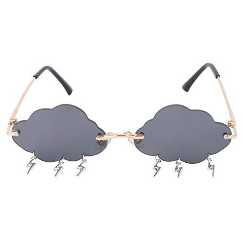 VALICLUD Wolke Sonnenbrille Randlose Vintage Sonnenbrille Lustige Unregelmäßige Disco Brille Blitz Quaste für Frauen Männer Getönte Brille Grau
