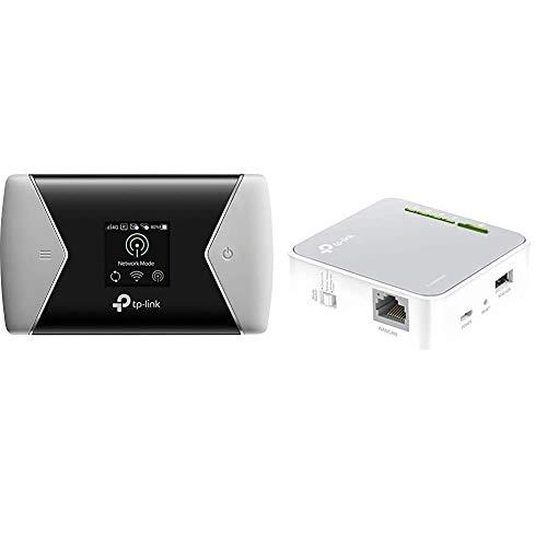 TP-Link M7450 mobiler WLAN Router (4G/LTE bis zu 300Mbit/s Download/ 50Mbit/s Upload) schwarz/Silber und TL-WR902AC AC750 WLAN Nano Router (433Mbit/s (5GHz) +300Mbit/s (2,4GHz), weiß/grau