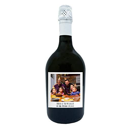 Bottiglia di Prosecco Personalizzato DOC Spumante Extra Dry - Idea regalo esclusiva e originale per Natale (0,75L, Polaroid con dedica)