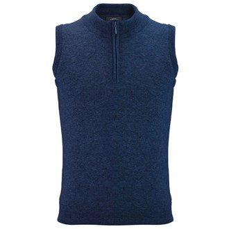 2014 Callaway Zip Neck Golf Sweater Vest Wool Tank Top Mens Slipover Navy Medium