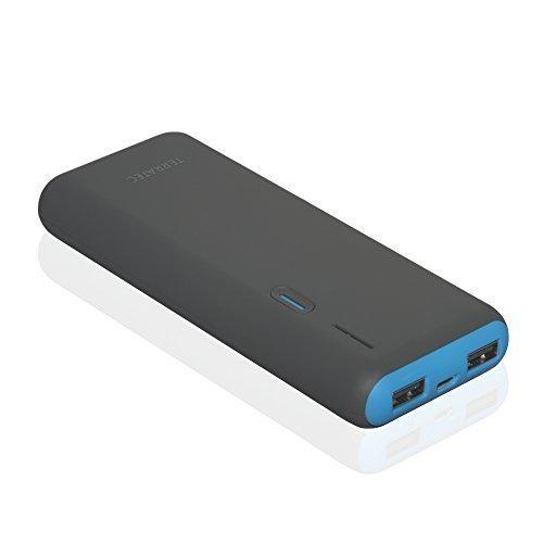 TERRATEC Powerbank P4, 13.000mAh Powerbank/Externer Akku/Ladegerät, 2 x Out (USB), LED Kapazitätsanzeige, für iphone, iPad, Samsung Galaxy und weitere, (Anthrazit/Blau)