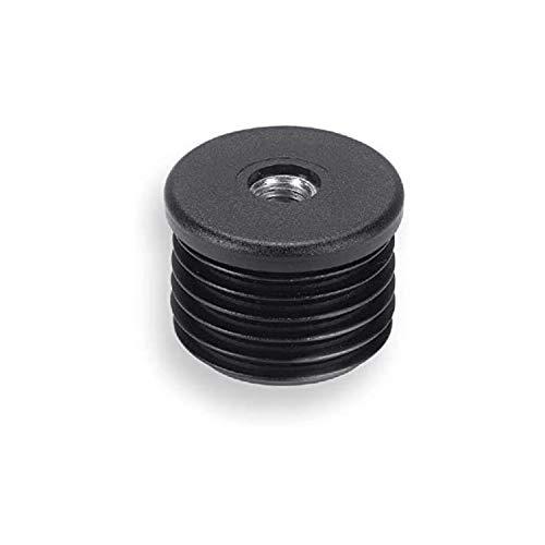 2 Gewindebuchsen Kunststoff, schwarz, mit verzinkter Stahlmutter, für Rundrohre
