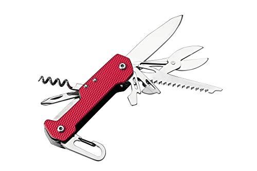 Multifunktions-Werkzeug Kombi-Werkzeug Multitool Taschenwerkzeug Multifunktions Set in rot/schwarz mit 9 Funktionen und Aluminium Handgriff inkl. Karabinerhaken