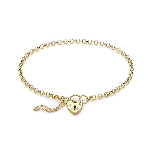 Carissima Gold Women's 9ct Yellow Gold 2.8mm Hollow Round Belcher Padlock and Safety Chain Bracelet 18cm/7'