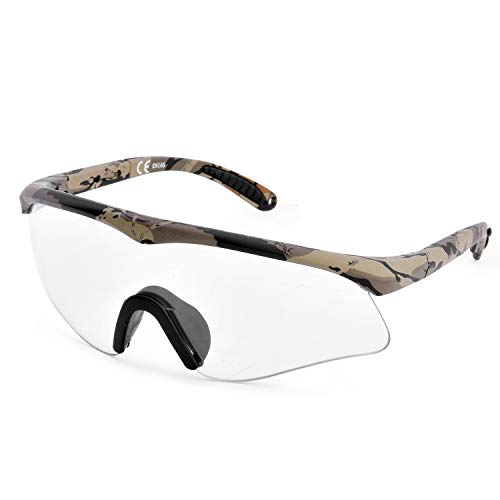 Gafas de seguridad SAFEYEAR (protección CE) – Gafas de seguridad para protección de ojos con lentes transparentes antivaho y camuflaje resistente al aceite, verde