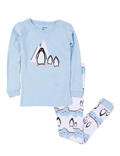 Leveret Kids Pajamas Boys Girls 2 Piece pjs Set Animal Prints 100% Cotton (Size 12 Months-14 Years) (8 Years, Penguin)
