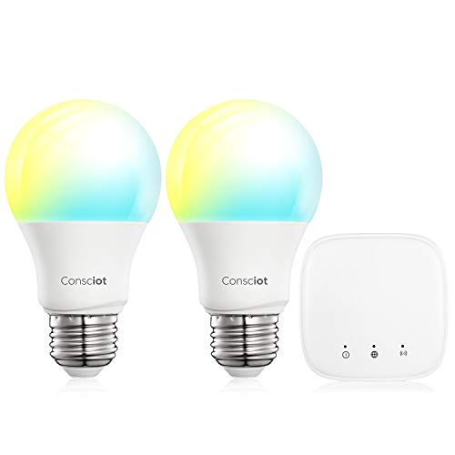Conciot Kit de bombillas inteligentes, Bombillas Zigbee y Hub, Regulable A19 E26 9W 800LM Luces LED, 60W Equivalente, Hub Kit, Dimmable and Tunable