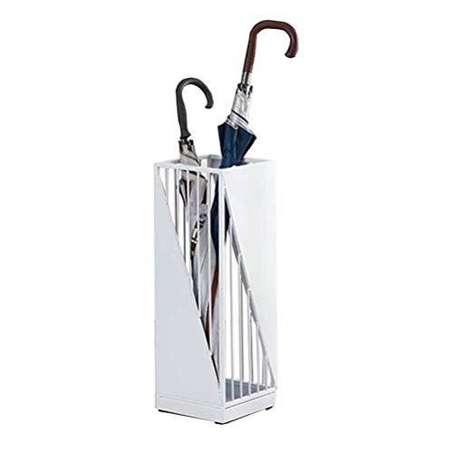 Paragüeros WXYZ Soporte de Paraguas Hueco de Hierro Forjado de Metal con 4 Ganchos para almacenar Paraguas Plegables, 20x20x58cm, Negro, Blanco, Rosa, Verde (Color : White)