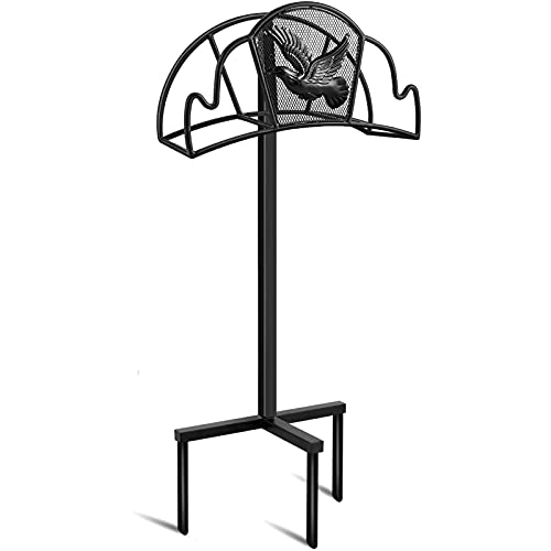 Amagabeli Garden Hose Holder Stand Freestanding for Outside Holds 125ft Water Hose Detachable Rustproof Rack Storage Hanger Stakes Heavy Duty Decorative Free Standing in Ground Garden Lawn Metal Black