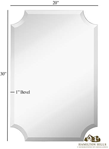 Large Beveled Scalloped Edge Rectangular Wall Mirror | 1 inch Bevel Curved Corners Rectangle Mirrored Glass Panel for Vanity, Bedroom, or Bathroom Hangs Horizontal & Vertical Frameless (24