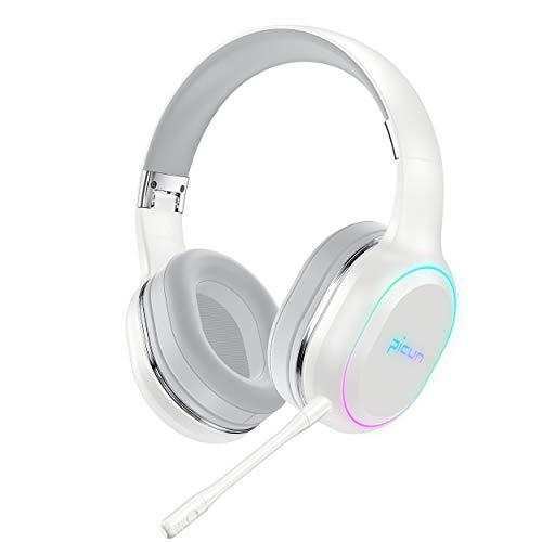 ヘッドホン Bluetooth ワイヤレス ゲームヘッドセット ワイヤレスヘッドホン ノイズキャンセリング 最大54時間連続再生 高音質 着脱式マイク付き 有線/無線兼用 7色LEDライト付き 折りたたみ式 密閉型 ブルートゥース ヘッドフォン オーバーイヤー型ヘッドホン 充電型 iPhone/iPad/Android/PC/PS4/Switch対応(ホワイト)