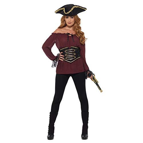 NET TOYS Attraktive Piratenbluse   Burgund in Größe S (34/36)   Aufregende Frauen-Verkleidung Bluse Piratin   Der Hit für Piratenparty & Mottoparty