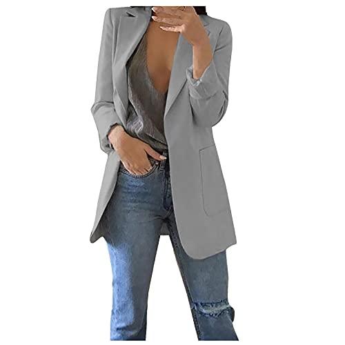 Elegante blazer de manga larga para mujer, monocolor, corte ajustado, solapa, para oficina, vestido, bolero, largo, informal, talla grande, chaqueta con bolsillos, Gris, S
