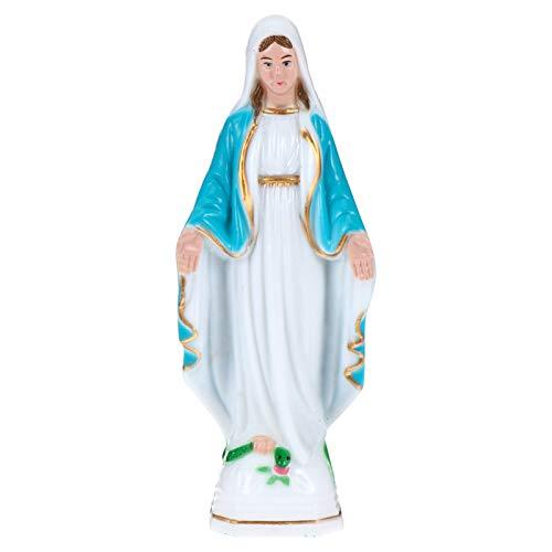 ABOOFAN Vierge Marie Figurine Sainte Vierge Mary Statue en Plastique Catholique Sculpture Religieuse Style Dame de Grâce Statuette pour Bureau Église Décor