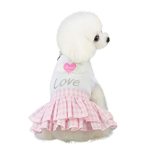 Xmiral Gonna Amore Vestiti Animale Domestico Cucciolo Estate Camicia Piccolo Cane Gatto Gilet Gonna Maglietta Tutu T-Shirt Top Vestito da Principessa per Cane Abito da Sposa M Rosa
