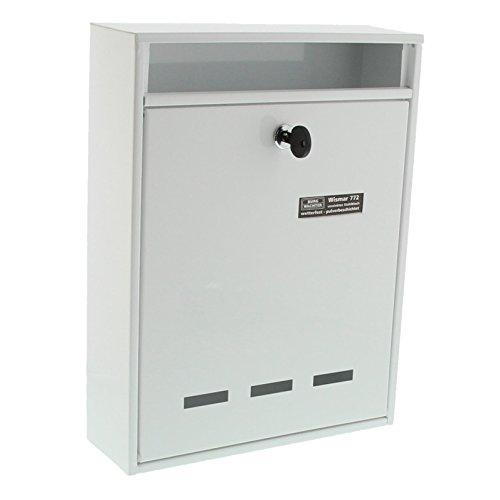 Burg-Wächter Anlagenbriefkasten, A4 Einwurf-Format, Verzinkter Stahl, Wismar 772 W, Weiß