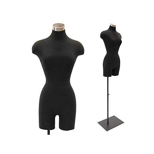 Adult Female Pinnable Black Dress Form Mannequin Torso with Adjustable Square Metal Base #F2BLG-05BK