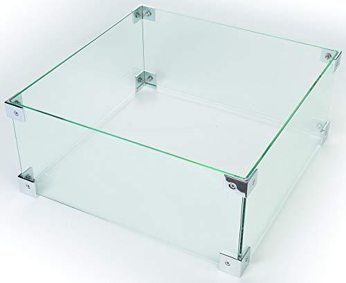 M A N I A Schutzglas für Feuertische - Schutz Glas passend für große quadtratische & rechteckige Mania Feuertische - Glasschirm gegen Wind 56 x 56 x 26 cm