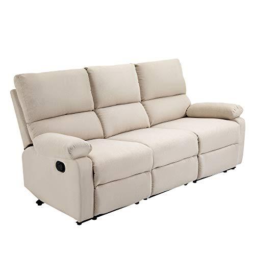 HOMCOM Liegesofa Relaxsessel Liegesessel TV Sessel Einzelsofa 150° neigbar Fernsehsessel Leinen 187 x 92 x 97 cm