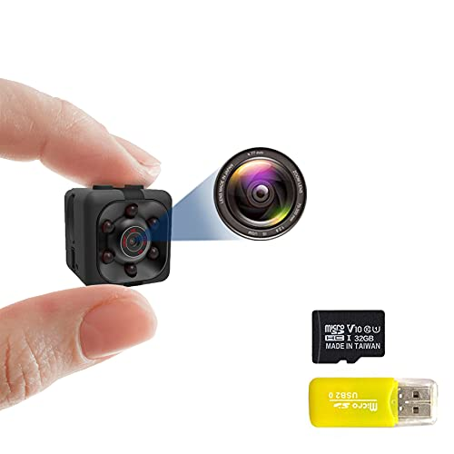 1080P Smart Camera with 32GB Card, Full HD Camera, Camera with Night Vision & Motion Dection, Indoor Outdoor Camera for Car Home Office