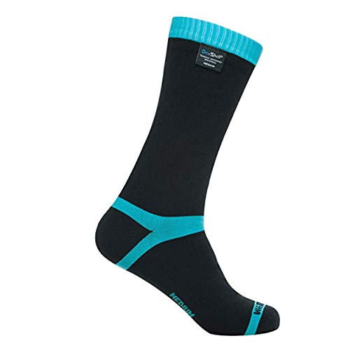 DexShell Coolvent Mid-Calf Socks - Black/Aqua Blue - Medium