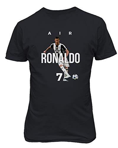BTA Apparel Neu Fußball Air Ronaldo CR7 Cristiano Ronaldo Juve Herren T-Shirt (Schwarz, S)