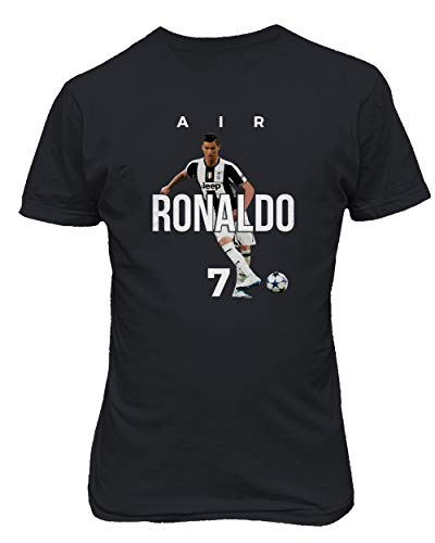 BTA Apparel Neu Fußball Air Ronaldo CR7 Cristiano Ronaldo Juve Herren T-Shirt (Schwarz, XL)