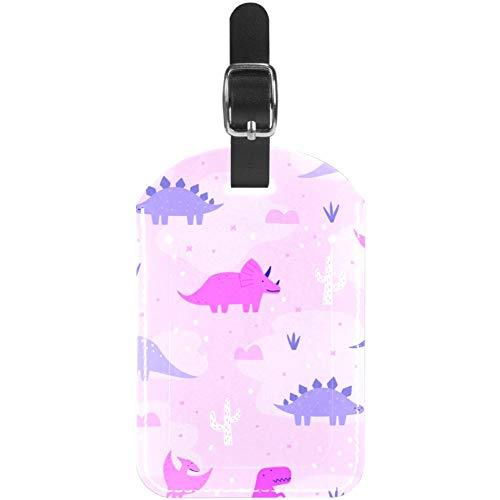 Etiquetas de Cuero para Equipaje de Color Rosa y Morado Pastel Dinosaurios Bolsa de Viaje Etiqueta de Maleta, Paquete de 1