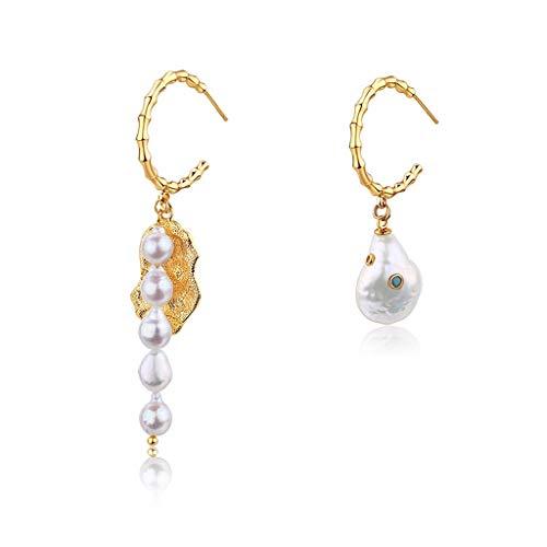 Arete Pendientes de la vendimia barroca pendientes de la perla asimétrica simple y elegante de las mujeres pendientes única y exquisita de cumpleaños y los regalos de San Valentín Pendiente de perlas
