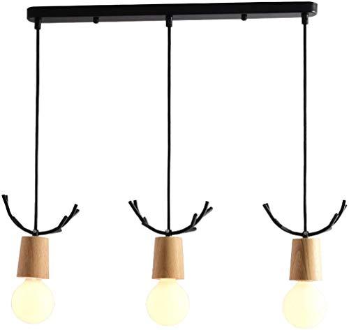 Amerikaanse stijl 3 hoofd hout ijzer kroonluchters minimalistische nordic verlichting voor restaurant eetkamer eettafel lampen (kleur: zwart)