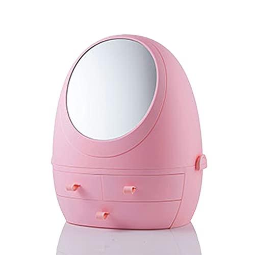 Organizador porta maquiagem removível com gavetas espelho led Rosa