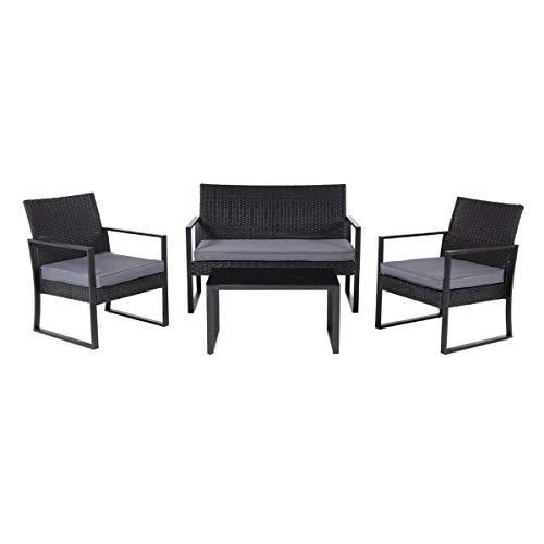 SVITA LOIS XL Poly Rattan Sitzgruppe Gartenmöbel Metall-Garnitur Bistro-Set Tisch Sessel schwarz