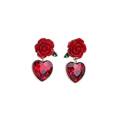 QEPOL Pendientes de botón de flor de rosa roja, Pendientes de botón de corazón de rubí creados Accesorios Pendientes de botón góticos vintage de flor simulada para mujer (Rojo)