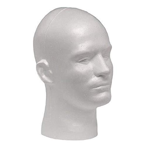 Eghunooye Männliche Styropor-Kopf Puppe Kopf Modell Perücke Brille Stehen Styropor Schaum Schaufensterpuppe Hut Display Stehen (Weiß, ONE Size)