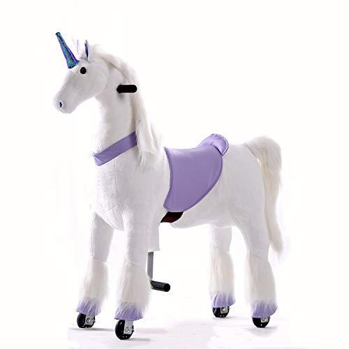 Gidygo Ride on Unicorn Pony Toy Walking Horse Plush Toy for Children Action Pony Horse Moving Unicorn Ride on Toy for Age 5 to 12 Years or Up to 110 Pounds, Large Size Purple Unicorn