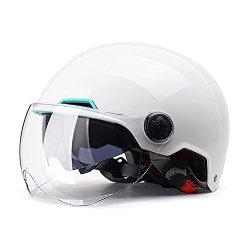 BOSERMEM Cascos De Motocicleta para Hombres y Mujeres, Cascos De Ciclomotor con Viseras, El Cabezal Anticolisión Protege La Seguridad Vial De Los Usuarios(Blanco)