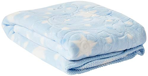 Jolitex 33.0710002.77147 - Cobertor Baby Super Soft em Relevo Estampado, 100% Poliéster, 80cm x 1,10m, Azul, Infantil